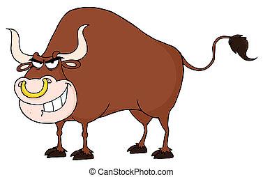 Bull Cartoon Character - Angry Bull Mascot Cartoon Character...