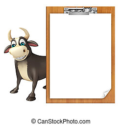 Bull cartoon character with exam pad - 3d rendered...