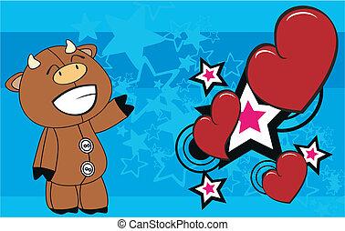 bull cartoon valentine background