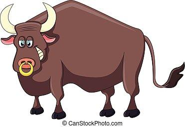 Bull cartoon vector illustration