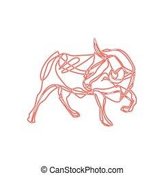 Bull cartoon - vector illustration