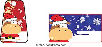 bull cartoon xmas sticker