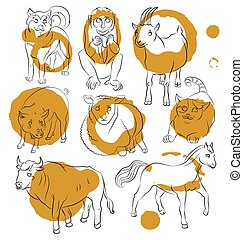 Bull-cat-dog-goat-horse-monkey-pig-sheep