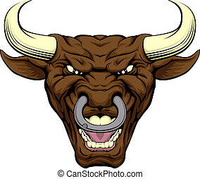 Bull character face - An illustration of a tough looking ...