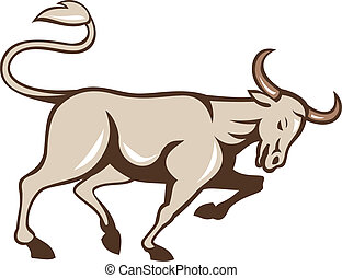 Bull Charging Side Cartoon - Illustration of an angry raging...