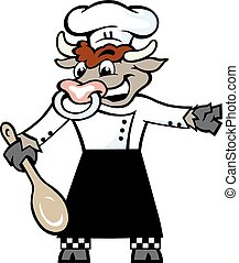 Bull Chef welcome with his spoon