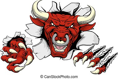 Bull claws smash out - An illustration of a tough looking...