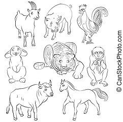 bull-cock-goat-horse-monkey-pig-rabbit-tiger