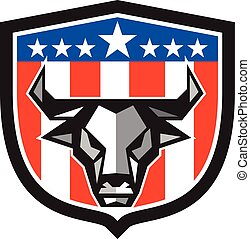 Bull Cow Head USA Flag Crest Low Polygon