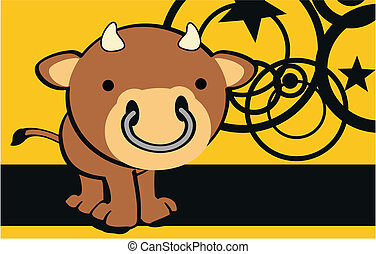 bull cute cartoon baby background