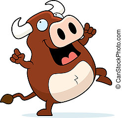 Bull Dancing - A happy cartoon bull dancing and smiling.