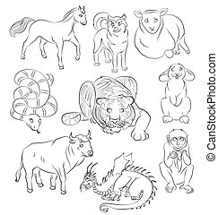 Bull-dog-dragon-horse-monkey-rabbit-sheep-snake-tiger