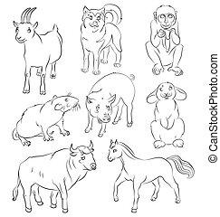 Bull-dog-goat-horse-monkey-pig-rabbit-rat
