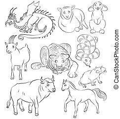 Bull-dragon-goat-horse-rabbit-rat-sheep-snake-tiger