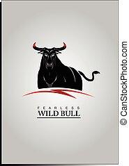 Bull. Elegant Black Bull with the Bloody Horns.