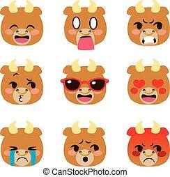 Bull Emoji Avatar Expressions