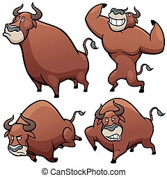 Bull - Vector illustration of Cartoon Bull Character Set