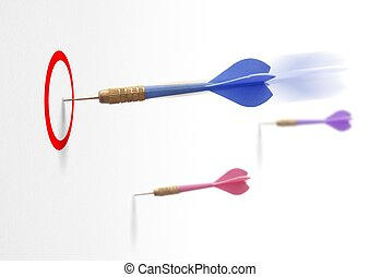dart on a white wall the first one reach it's goal. Symbol of success in business or marketing.