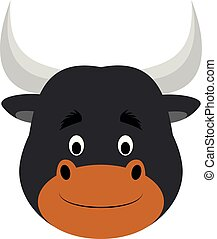 Bull face in cartoon style for children. Animal Faces Vector illustration Series