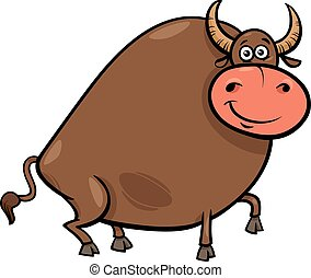 bull farm animal character cartoon illustration