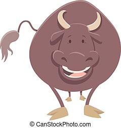 bull farm animal character - Cartoon Illustration of Bull...