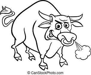 bull farm animal coloring page - Black and White Cartoon...
