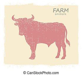 Bull Farm animal silhouette. Vector vintage symbol bull on old paper background