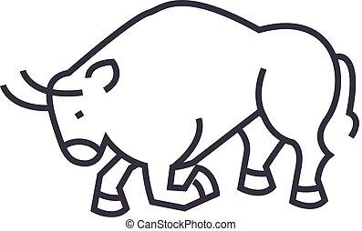 bull fight,spain vector line icon, sign, illustration on background, editable strokes