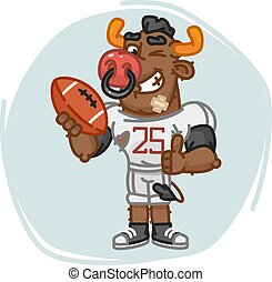 Bull Football Player Holds Ball Shows Thumbs Up and Winks
