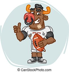 Bull Football Player Holds Ball Shows Thumbs Up