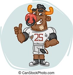 Bull Football Player Shows Thumbs Up