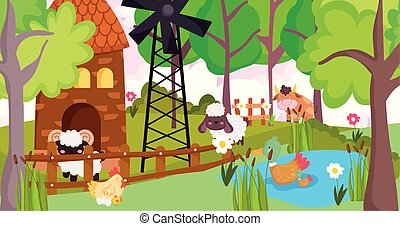 bull goat sheep hen ducks in lake windmill farm animals