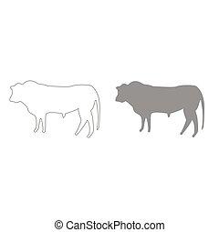 Bull grey color set icon .