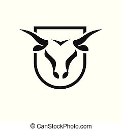 Bull head black shield vector logo concept illustration,...