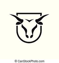 Bull head black shield vector logo concept illustration,...