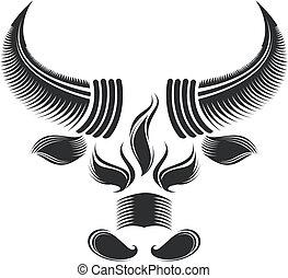 bull head - black and white bull head pattern design.