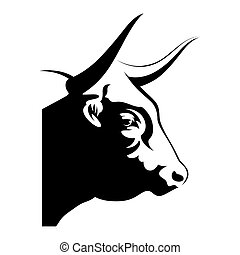 Bull head - black and white vector illustration, profile...