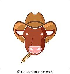 Bull Head - Cartoon style bull head with cowboy hat vector...