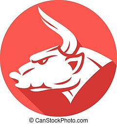 bull head flat icon (red bull)