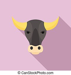 Bull head icon, flat style