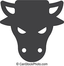 Bull head icon in black on a white background. Vector illustration