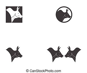 Bull head icon logo vector
