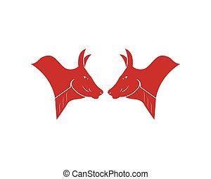 Bull head icon logo vector illustration