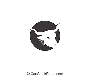 Bull head icon logo vector illustration