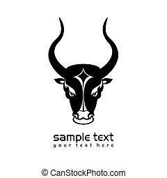 bull head - black and white bull head icon on white clean...