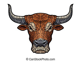 Bull head isolated illustration - Bull head isolated in...