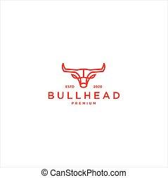 Bull Head Line Art Logo Vector illustration