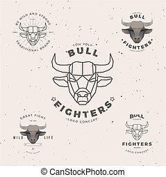 bull head logo set