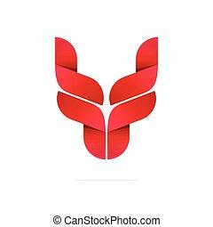 Bull head logo symbol, horns icon, ox, breeding cattle logotype