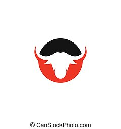 Bull head logo vector icon illustration